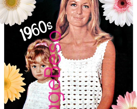 Ladies Dress CROCHET Pattern • PdF Pattern • Mother Daughter Matching Dresses Digital Pattern • Mommy and Me • Boho Lovely • Vintage 1960s