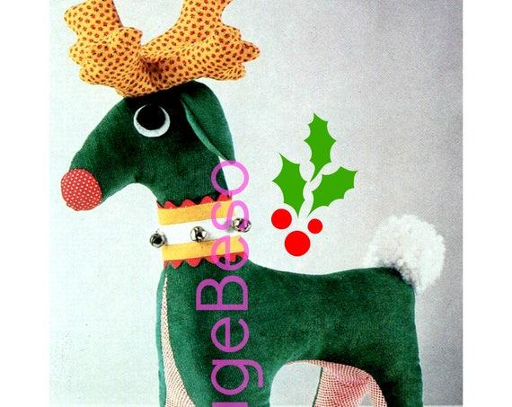 PDF PATTERN • Reindeer SEWING Pattern • Rudolph • the Red Nose Reindeer • Winter Animal 1970s Vintage Christmas Pattern Digital Toy Pattern