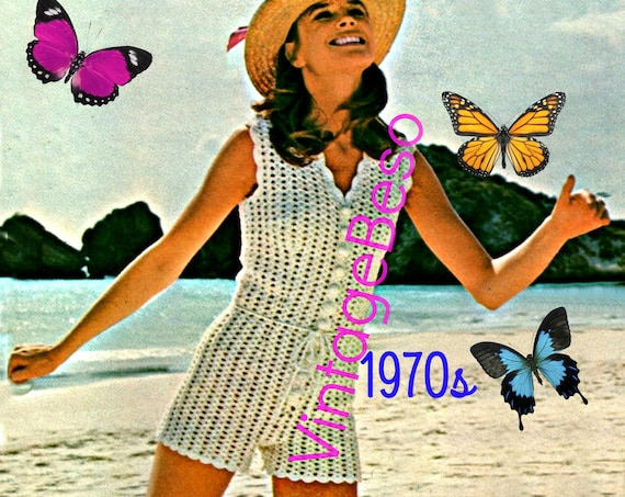 Romper Crochet Pattern • Vintage 1970s Beach Romper Shorts Hot Pants Ladies Summer Wear Bohemian Summer Playsuit • Watermarked PDF Only