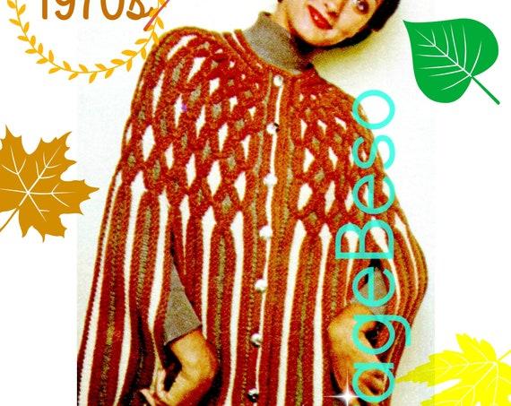 Cape KNITTING Pattern • Instant Download • Digital Pattern • PDF • Gorgeous Vintage Vertical Stripe Cape with Smocking + Arm Slits