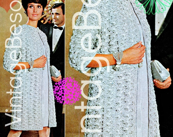 DIGITAL Pattern • Coat CROCHET PATTERN • Vintage 1960s Silver Lace Coat • Instant Download • Pdf special events Birthday New Year's Eve