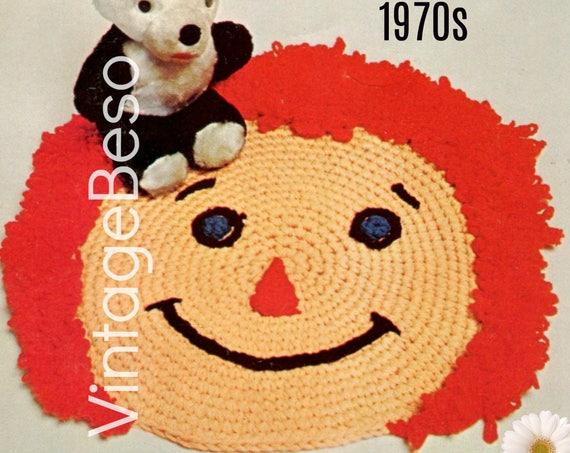 EASY Rug Crochet PATTERN Vintage 1970s • Happy Face RUG Retro Crochet Pattern • Instant Download • PdF Pattern