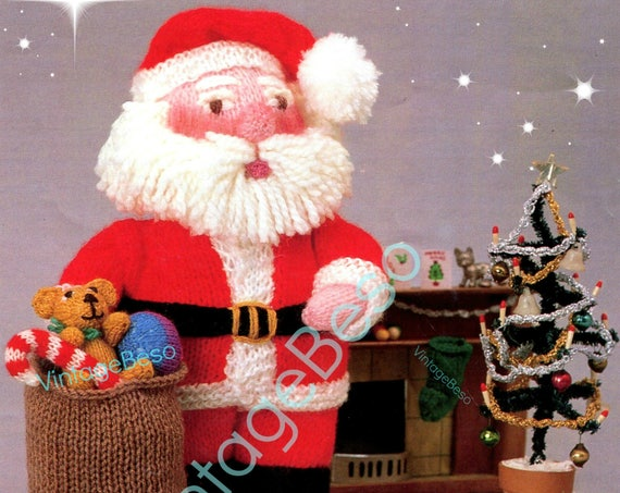 Instant Download • Knit Christmas • SANTA and Gifts KNITTING Pattern • Teddy Bear Candy Cane Stocking Sack Doll • Watermarked PDF Only