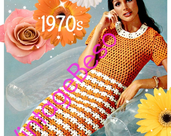 Ladies Dress CROCHET Pattern • PDF • Stripes and Neckband Collar Dress Digital Pattern • Sweet Womans Dress • Vintage 1970s • Watermarked