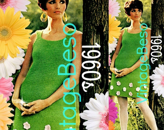 Spring Flower Dress Crochet PATTERN Vintage 1960s • A Line Dress is Easy to Make and Easy to Wear Fashion • Watermarked PDF Only