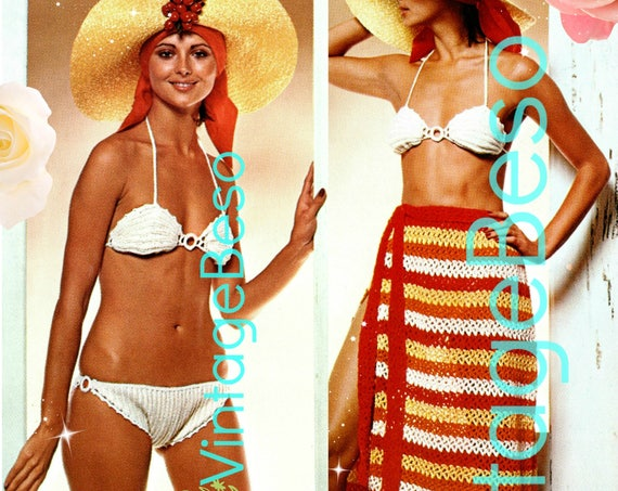Vintage Bikini Crochet Pattern • VintageBeso • PDF Pattern • 1970s Ladies Crochet Pattern • Swimsuit with Sarong Skirt Pattern • Instant
