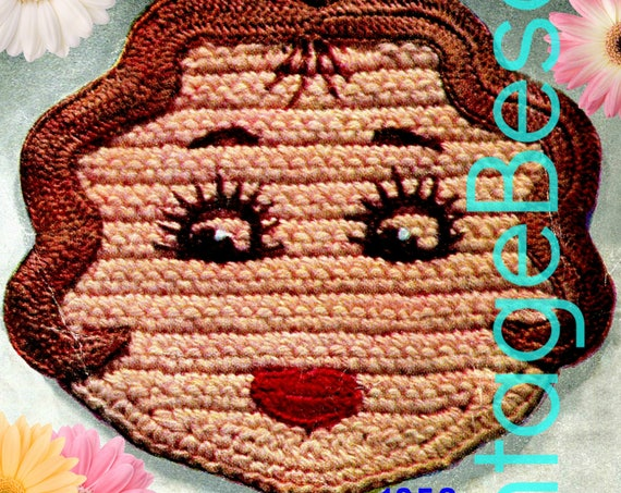 Miss America Potholder CROCHET Pattern • Vintage 1950s • Super Cute Bridal Shower Birthday Wedding Valentine's Day • Watermarked PDF Only