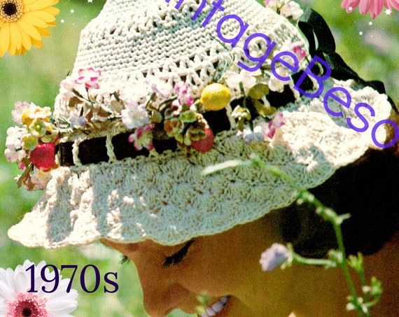 Boho Hat Crochet Pattern • Brimmed Hat • Nod to Victorian Days • 1970s Vintage • PdF Pattern • Retro Sexy Earthy Fun • Watermarked PDF Only