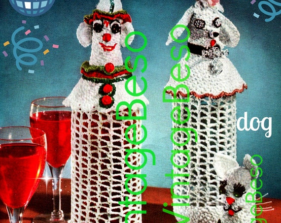 3 LIQUOR Bottle Cover CROCHET Pattern + Free Cigarette Case PDF • 1950s Vintage Hostess Party Gift • Mad Men Era • Clown Dog Cat • Cigs Case