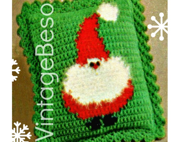Instant Download • Santa Pillow Crochet Pattern • 70s Christmas Pillow Ruffled Edge • Claus • Free Porcupine Pattern • Watermarked PDF Only