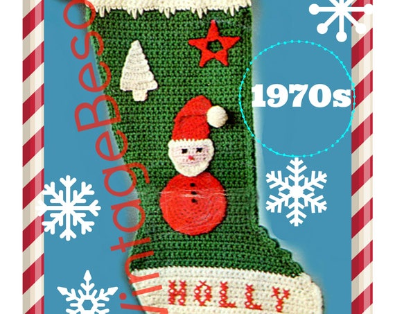 PDF PATTERN • CROCHET Stocking Pattern • Santa Xmas Tree Star Applique • 1970s Vintage Christmas • Digital Instant Download