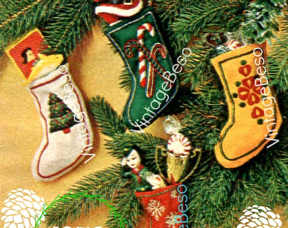 "Instant Download • PDF PATTERN • 4 Tiny Xmas Stockings SEWING Pattern • Embroidery Pattern 3 1/2"" by 5"" • Christmas Tree Oranaments • 1970s"