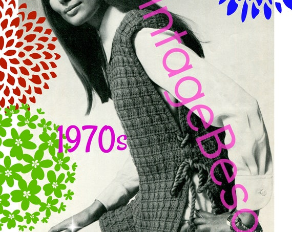 Instant Download • Laced Tunic CROCHET Pattern • Stay Warm with this Tabard Top • Womans Laced Tabard • Vintage 1970s • Watermarked PDF Only