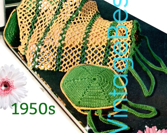 Shopping Bag Crochet Pattern • DIGITAL PATTERN • Interesting Collapsable Bag from 1950s • Vintage Grocery • PdF Pattern • Retro