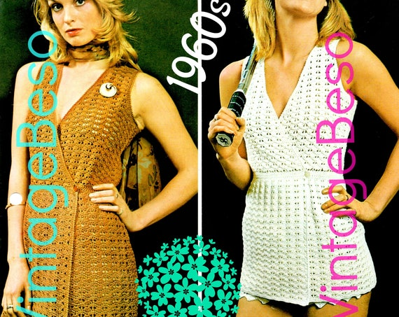 Wrap Dress CROCHET Pattern • PdF Pattern • Mini Dress Day Dress • Pants • Cross Over Skirt Digital Pattern • Errands or Party Vintage 1960s