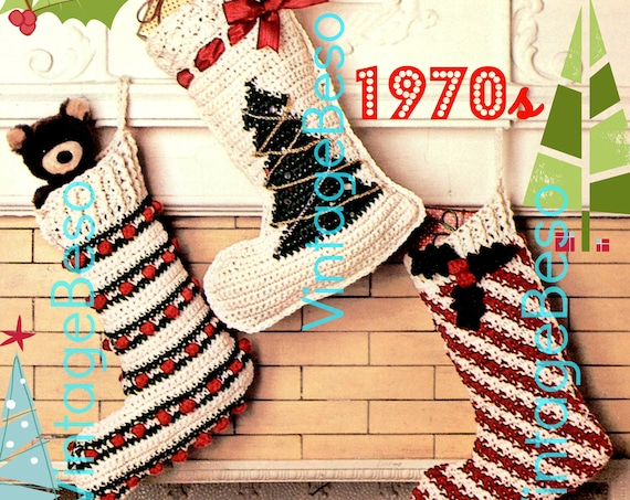 Classic Crochet Christmas • EASY STOCKiNG CROChET PATTeRNs • Vintage 1970s • Keepsake • Gift • Tree Candy • Decor • PDF Pattern • DIGITIAL