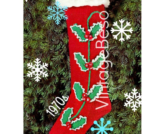 Retro Christmas Stocking Pattern consists of Knitting and Crochet • 1970s Vintage Knitting Pattern • Columbia Minerva • Watermarked PDF Only
