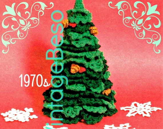 Christmas Tree Crochet Pattern • Vintage 1970s Four Snowflake • Rare Pattern • Branches • Cones • Berries • Watermarked PDF Only