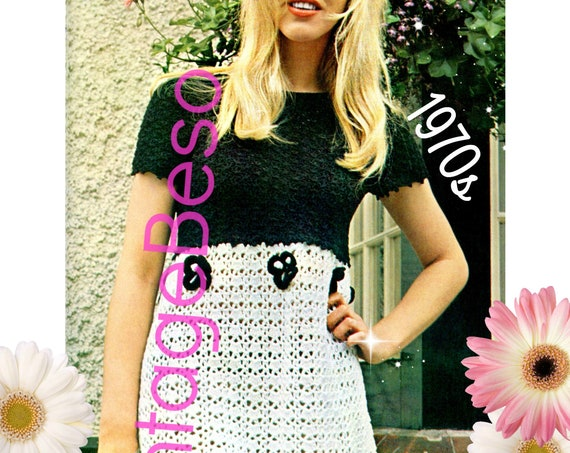 Dress Crochet PATTERN • Vintage 1970s Black and White Dress • PdF Pattern • Crochet Pattern • INSTANT DOWNlOAD • Ladies Summer Dress