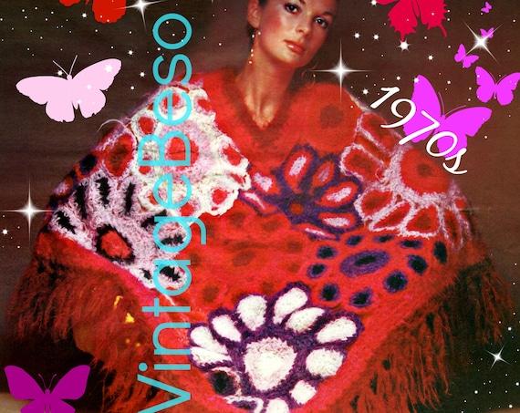 Boho Poncho Crochet Pattern • Ladies Bouquet Field of Flowers • 1970s Vintage Wrap • Beauty Feminine Hippie Chic Lady • Watermarked PDF Only