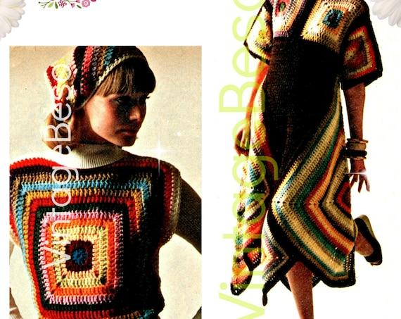 3 Boho Crochet Patterns • Retro 1970s • Chic Granny Square Dress Crochet Pattern • Scarf Pattern Top Headscarf • Watermarked PDF Only