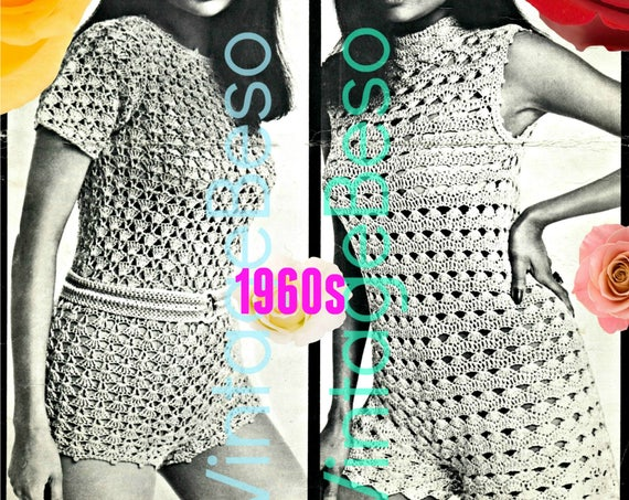Romper Crochet Pattern • Vintage Crochet Pattern • Hot Pantsuits • 1960s Couture Crochet • Party • Sexy • Bodysuit • Watermarked PDF Only