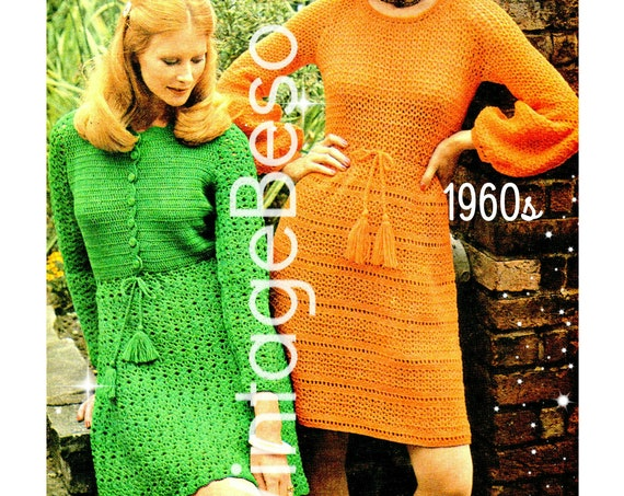 Dress Crochet Pattern • Vintage 1960s • Ladies Summer Wear CROCHET PATTERN • Two Versions Long Sleeve Dress • Pdf Pattern • INSTANT Download