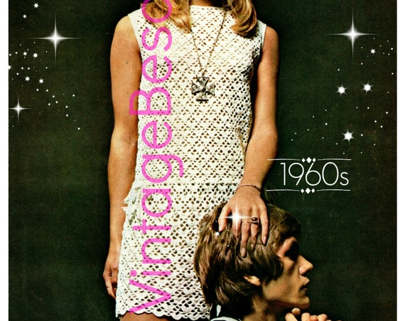 Dress Crochet PATTERN Vintage 1960s Ladies Crochet Summer Wear is a Lace Drawstring Dress Retro Sexy Dress VintageBeso Instant Download PDF