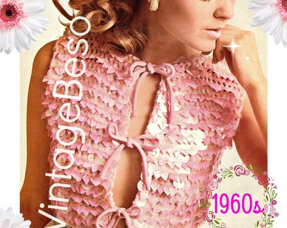 Top Crochet Pattern •  Sexy Romantic 1960s Bangly Bolero Top Crochet Pattern • Summer Sleeveless Bangle • Instant Download • PDF Pattern