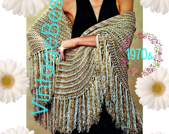 DIGITAL PATTERN • SHAWL Crochet Pattern • Gold and Silver • Ladies 1970s Circulcar Shawl Wrap • PdF Pattern • Digital Pattern
