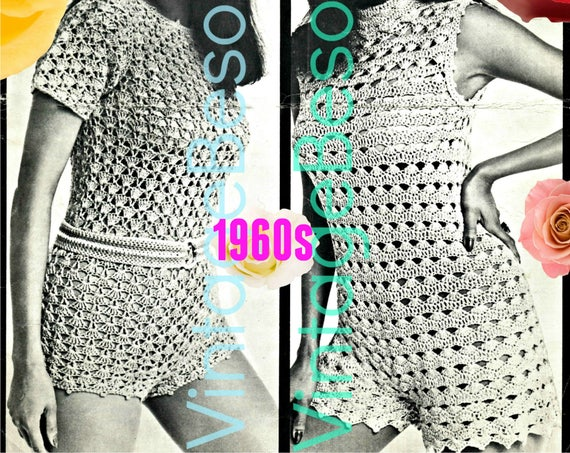 Romper Crochet Pattern • Vintage 1960s Sexy Jumpsuit Shorts Pattern • Hot Pants Pattern • Summer Wear • VintageBeso • Watermarked PDF Only