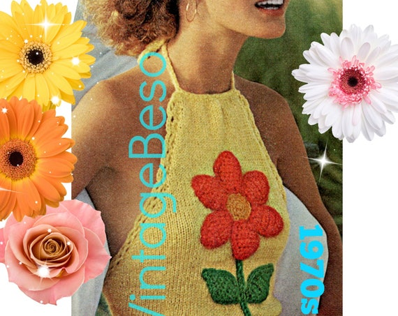 Fun Flower Halter Top KNITTING and Crochet Pattern • 1970s Vintage • Ladies Retro Sexy Top Knitted + Crochet Flower • Watermarked PDF Only