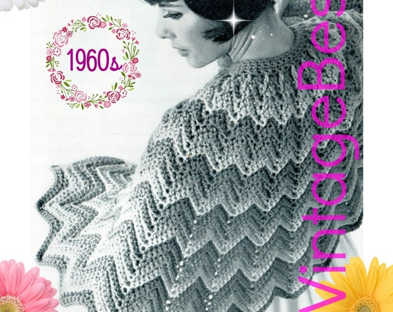 Easy CAPE Crochet Pattern • Ladies Ripple ZigZag Chevron Shoulder Cape • 1960s Vintage Crochet Pattern • Digital Download • PDF Pattern Only