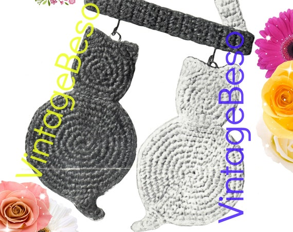 Cat Potholders and Hanging Rack Crochet Pattern • Cats Potholder CROCHET Pattern • PdF Pattern • Vintage 1940s • Digital Pattern