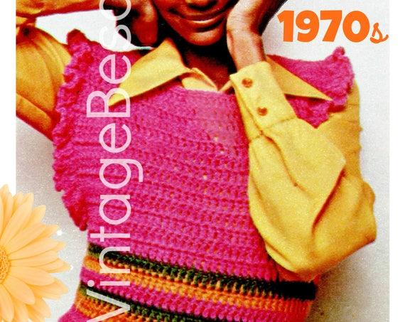 Top CROCHET Pattern • 1970s Vintage Shrink is super cute top • ladies feminine wide open ruffle sleeves • Instant Download • PDF Pattern