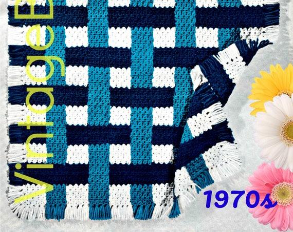 Pie Crust Afghan Crochet Pattern • Vintage 70s • Plaid Carriage Cover • Afghan Baby Blanket Weave Pie Crust Fun Fast • Watermarked PDF Only