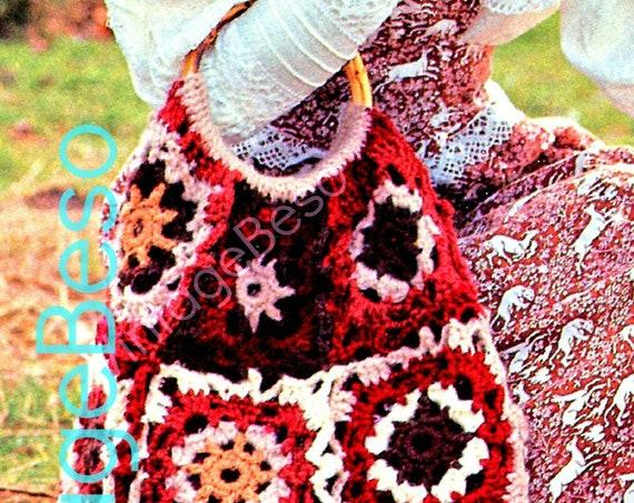 "INSTANT DOWNlOAD • Crochet PATTERN Vintage Fabulous Granny Square Shopper Bag 18"" x 18"" Motif Handbag Boho Hippie VintageBeso PDF Pattern"