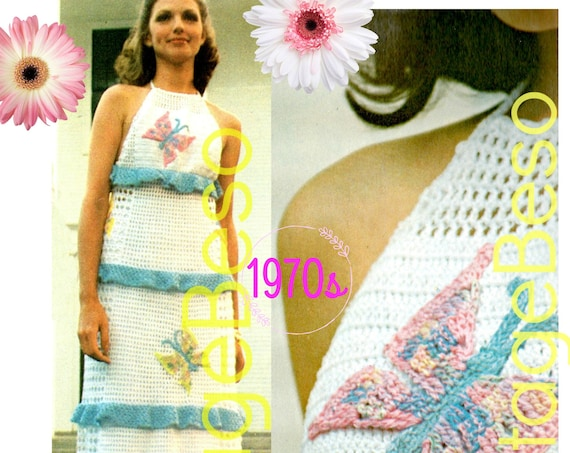 Butterfly Halter Maxi Dress CROCHET Pattern • Vintage 70s Fun Summery • Ruffled Halter Dress • Long or Short Dress • Watermarked PDF Only