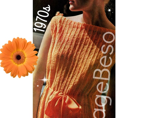 Dress Knitting Pattern • Vintage 1970s Easy Wear Drawstring Summer Dress • Cover Up Pattern • Retro Knit Pattern • Watermarked PDF Only