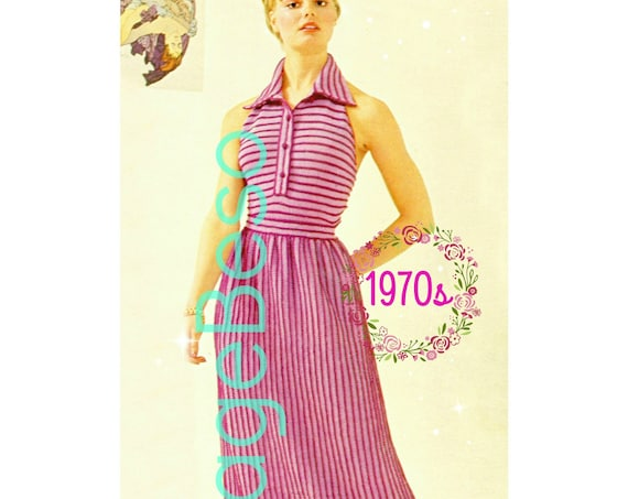 Dress KNITTING Pattern • 1970s Vintage Ladies Halter + Skirt • USA Terms • Halter Dress • Watermarked PDF Only