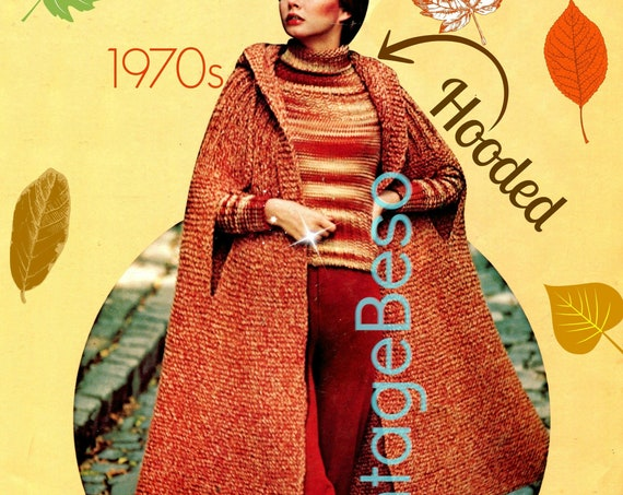 HOODED Cape KNITTING Pattern • Vintage Tweed • 1970s Knitted Coat • Knitted Jacket • Wrap • 1970s Vintage • Watermarked PDF Only