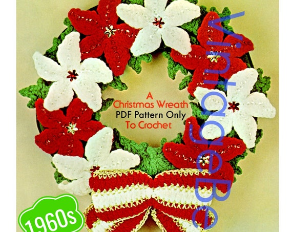 Christmas Wreath Crochet Pattern • PDF Pattern Only • 1960s Bucilla Vintage Pattern • Retro Christmas Pattern • Instant Download