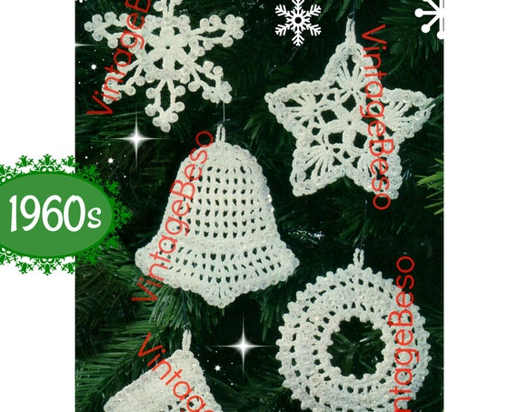 Vintage 1960s • Snowflake • Star • Bell • Wreath • Stocking • 5 Ornaments Pattern • Classic Christmas Crochet Pattern • Watermarked PDF Only
