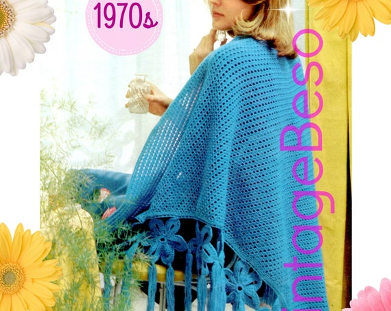 Flowers of Azure Shawl CROCHET Pattern • Vintage 1970s • Elegant Border • Classic and Cool • Big Flowers • UK Terms • Watermarked PDF Only