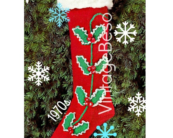 Instant Download • Stocking Knitting with Holly Crochet Retro Christmas Pattern • 1970s Vintage Knitting • Watermarked PDF Only