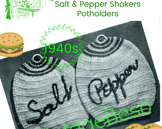 Potholder Crochet Pattern • Salt and Pepper Shakers Potholder • Vintage 1940s Crochet Pattern • Kitsch Potholder • Watermarked PDF Only
