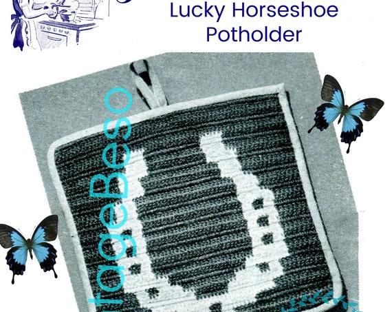 Lucky Horseshoe Potholder • Potholder Crochet Pattern • Vintage 1940s Crochet Pattern • Kitschy • Watermarked PDF Only