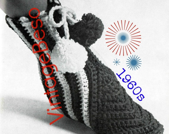 Slippers Crochet PATTERN • Vintage 1960s Give Her the Boot • Pom Poms • Above Ankle • Keep Toes Toasty on Cold Nights • Watermarked PDF Only