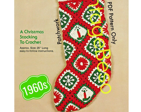 Instant Download • Classic Christmas CROCHET Pattern • Patchwork STOCKING Pattern • Bucilla • 60s Vintage Crochet Pattern • Retro Christmas