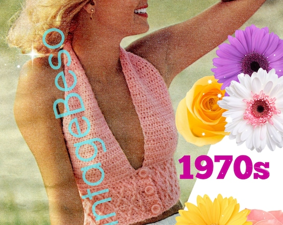 Sexy Backless Halter Top Crochet Pattern • 3 Button Smocked Halter • 1970s Vintage Pattern • Ladies Retro Sexy Top • Watermarked PDF Only